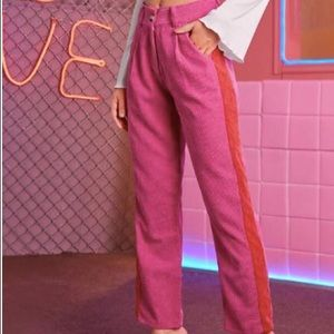Shein NWOT pink and red corduroy trousers